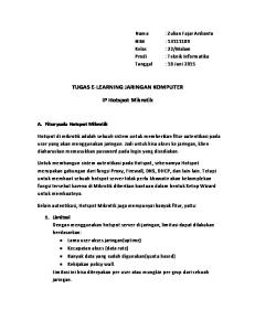 TUGAS E-LEARNING JARINGAN KOMPUTER. IP Hotspot Mikrotik