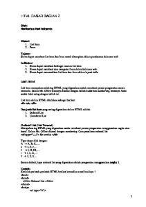 Tujuan: Siswa dapat membuat list item dan form untuk diterapkan dalam pembuatan halaman web