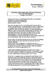 Uitreiking Gulden Spoor voor Culturele Uitstraling aan Frans Debrabandere Brugge, 10 juli 2012