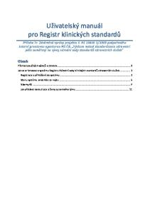 Uživatelský manuál pro Registr klinických standardů
