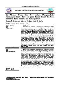 Uji Metode Olsen dan Bray dalam Menganalisis Kandungan Fosfat Tersedia pada Tanah Sawah di Desa Konarom Barat Kecamatan Dumoga Utara