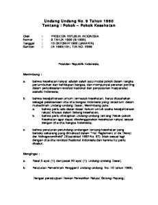 Undang Undang No. 9 Tahun 1960 Tentang : Pokok Pokok Kesehatan