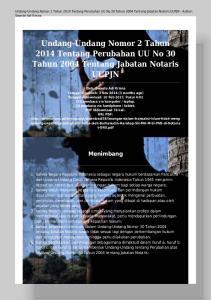 Undang-Undang Nomor 2 Tahun 2014 Tentang Perubahan UU No 30 Tahun 2004 Tentang Jabatan Notaris UUPJN - Author: Swante Adi Krisna