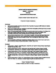 UNDANG-UNDANG REPUBLIK INDONESIA NOMOR 11 TAHUN 2012 TENTANG SISTEM PERADILAN PIDANA ANAK DENGAN RAHMAT TUHAN YANG MAHA ESA