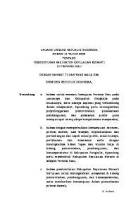 UNDANG-UNDANG REPUBLIK INDONESIA NOMOR 12 TAHUN 2009 TENTANG PEMBENTUKAN KABUPATEN KEPULAUAN MERANTI DI PROVINSI RIAU