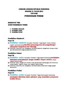 UNDANG-UNDANG REPUBLIK INDONESIA NOMOR 12 TAHUN 2012 TENTANG PENDIDIKAN TINGGI