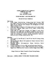 UNDANG-UNDANG REPUBLIK INDONESIA NOMOR 20 TAHUN 1968 TENTANG BANK TABUNGAN NEGARA DENGAN RAKHMAT TUHAN YANG MAHA ESA PRESIDEN REPUBLIK INDONESIA