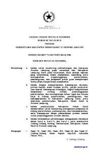 UNDANG-UNDANG REPUBLIK INDONESIA NOMOR 22 TAHUN 2012 TENTANG PEMBENTUKAN KABUPATEN PESISIR BARAT DI PROVINSI LAMPUNG DENGAN RAHMAT TUHAN YANG MAHA ESA