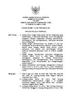 UNDANG-UNDANG REPUBLIK INDONESIA NOMOR 33 TAHUN 2003 TENTANG PEMBENTUKAN KABUPATEN MINAHASA UTARA DI PROVINSI SULAWESI UTARA