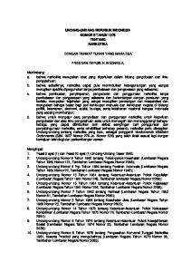 UNDANG-UNDANG REPUBLIK INDONESIA NOMOR 9 TAHUN 1976 TENTANG NARKOTIKA DENGAN RAHMAT TUHAN YANG MAHA ESA PRESIDEN REPUBLIK INDONESIA,