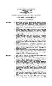 UNDANG-UNDANG REPUBLIK INDONESIA NOMOR 9 TAHUN 2008 TENTANG PENGGUNAAN BAHAN KIMIA DAN LARANGAN PENGGUNAAN BAHAN KIMIA SEBAGAI SENJATA KIMIA