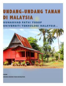 UNDANG-UNDANG TANAH DI MALAYSIA MUHAMMAD FATHI YUSOF UNIVERSITI TEKNOLOGI MALAYSIA
