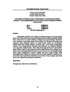 UNIVERSITAS BINA NUSANTARA. Jurusan Teknik Informatika Skripsi Sarjana Komputer Semester Ganjil Tahun 2006