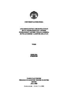 UNIVERSITAS INDONESIA ANALISIS DAMPAK LINGKUNGAN DAN BIAYA PEMBANGKITAN LISTRIK PEMBANGKIT LISTRIK TENAGA HIBRIDA DI PULAU SEBESI LAMPUNG SELATAN