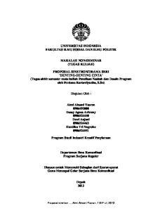 UNIVERSITAS INDONESIA FAKULTAS ILMU SOSIAL DAN ILMU POLITIK MAKALAH NON-SEMINAR (TUGAS KULIAH)