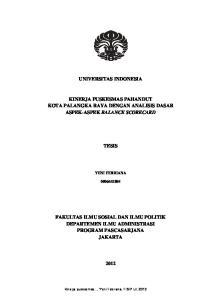 UNIVERSITAS INDONESIA KINERJA PUSKESMAS PAHANDUT KOTA PALANGKA RAYA DENGAN ANALISIS DASAR ASPEK-ASPEK BALANCE SCORECARD TESIS