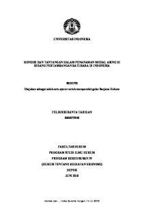 UNIVERSITAS INDONESIA KONDISI DAN TANTANGAN DALAM PENANAMAN MODAL ASING DI BIDANG PERTAMBANGAN BATUBARA DI INDONESIA SKRIPSI