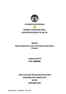 UNIVERSITAS INDONESIA PRASASTI PANDĀN 964 ŚAKA: REKONSTRUKSI BENTUK DAN ISI SKRIPSI CLARA AGUSTIN NPM