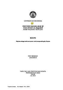 UNIVERSITAS INDONESIA. PREPOSISI BAHASA ARAB BI PADA SURAH AL-BAQARAH Analisis Penerjemahan Teks Al-Quran SKRIPSI NUH MIQDAD
