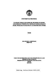 UNIVERSITAS INDONESIA VALIDASI TINGGI GELOMBANG SIGNIFIKAN MODEL GELOMBANG WINDWAVE-5 DENGAN MENGGUNAKAN HASIL PENGAMATAN SATELIT ALTIMETRI MULTIMISI