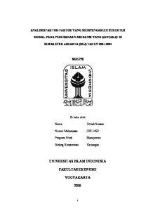 UNIVERSITAS ISLAM INDONESIA FAKULTAS EKONOMI YOGYAKARTA