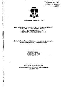 UNIVERSITAS TERBUKA. IMPLEMENTASI PRINSIP-PRINSIP PEMUNGUTAN PAJAK DALAM PAJAK BUMI DAN BANGUNAN DlKABUPATENBANGKABARAT (STUDI IMPLEMENTASI KEBIJAKAN)