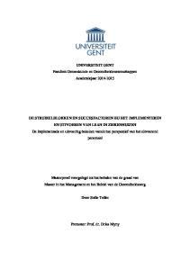 UNIVERSITEIT GENT Faculteit Geneeskunde en Gezondheidswetenschappen Academiejaar