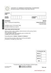 UNIVERSITY OF CAMBRIDGE INTERNATIONAL EXAMINATIONS International General Certificate of Secondary Education