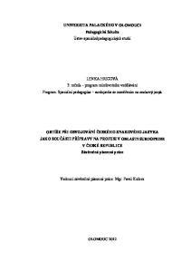 UNIVERZITA PALACKÉHO V OLOMOUCI Pedagogická fakulta Ústav speciálněpedagogických studií