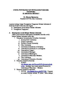 UPAYA PENINaGKATAN PENGAJARAN BAHASA INDONESIA DI AMERIKA SERIKAT. Dr. Marmo Soemarmo President COTIM, Ohio University
