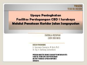 Upaya Peningkatan Fasilitas Perdagangan CBD I Surabaya Melalui Penataan Koridor Jalan Songoyudan