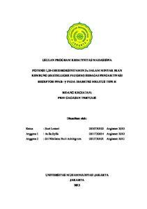 USULAN PROGRAM KREATIVITAS MAHASISWA POTENSI 1,25-DIHIDROKSIVITAMIN D 3 DALAM MINYAK IKAN KEMBUNG (RASTELLIGER FAUGHNI) SEBAGAI PENGAKTIVASI