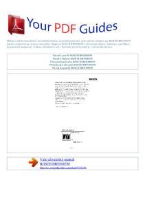 Vaše uživatelský manuál BOSCH HBN