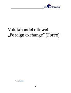 Valutahandel oftewel Foreign exchange (Forex)
