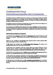 Vandemoortele Groep Facturatievoorwaarden voor Leveranciers