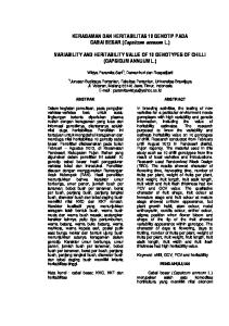 VARIABILITY AND HERITABILITY VALUE OF 10 GENOTYPES OF CHILLI (CAPSICUM ANNUUM L.)