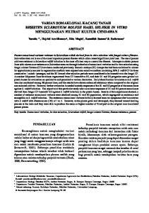 VARIAN SOMAKLONAL KACANG TANAH RESISTEN SCLEROTIUM ROLFSII HASIL SELEKSI IN VITRO MENGGUNAKAN FILTRAT KULTUR CENDAWAN
