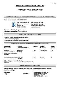 VEILIGHEIDSINFORMATIEBLAD PRODUCT : ALL-GREEN RTU