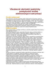 Všeobecné obchodní podmínky poskytování služeb elektronických komunikací