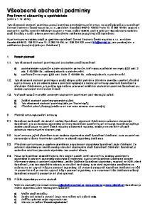 Všeobecné obchodní podmínky Pro firemní zákazníky a spotřebitele (znění k )