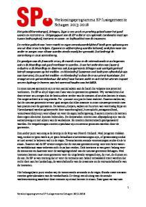 Verkiezingsprogramma SP fusiegemeente Schagen