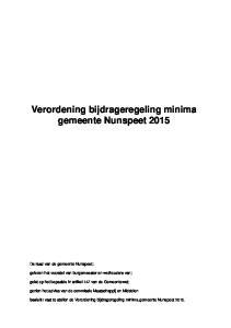 Verordening bijdrageregeling minima gemeente Nunspeet 2015