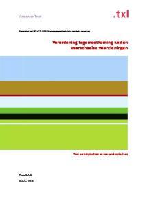 Verordening tegemoetkoming kosten voorschoolse voorzieningen