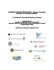 Verslag Conferentie Matchmaking - verbeter de match tussen bio-bedrijven en universitaire opleidingen!