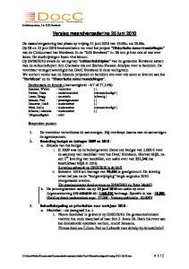 Verslag maandvergadering 25 juni 2010
