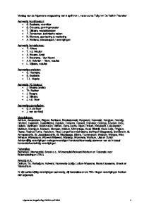 Verslag van de Algemene vergadering van 8 april 2011, 19:30 uur te Tulip Inn De Valk in Franeker