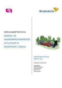 VERVOLGMETING 2014 GEBRUIK- EN WAARDERINGSONDERZOEK SUTU COURT IN DIEZERPOORT, ZWOLLE