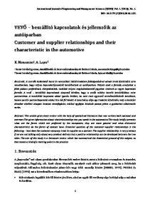 VEVŐ beszállító kapcsolatok és jellemzőik az autóiparban Customer and supplier relationships and their characteristic in the automotive