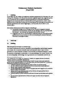 Visiedocument Medische Geschiedenis 29 april 2014
