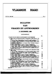 VLAAMSE RAAD BULLETIN VAN VRAGEN EN ANTWOORDEN 14 DECEMBER 1992 INHOUDSOPGAVE